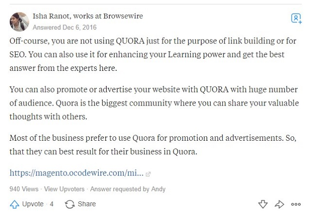 Spam links on Quora
